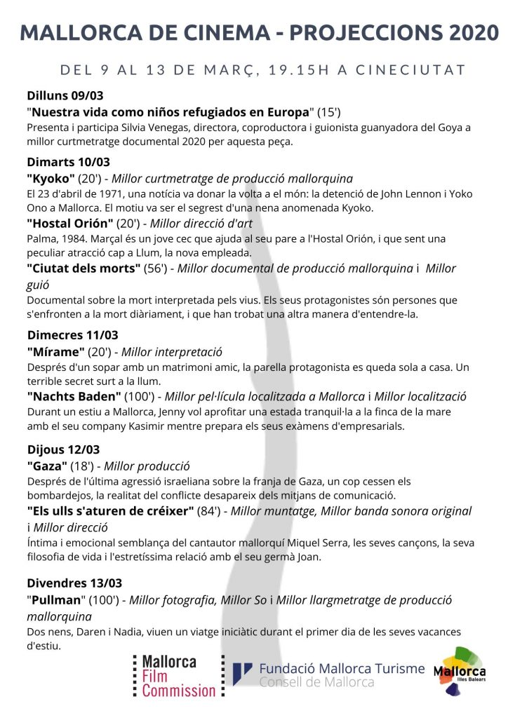 Las obras premiadas por la Mallorca Film Commission se proyectarán gratuitamente en CineCiutat del 9 al 13 de marzo