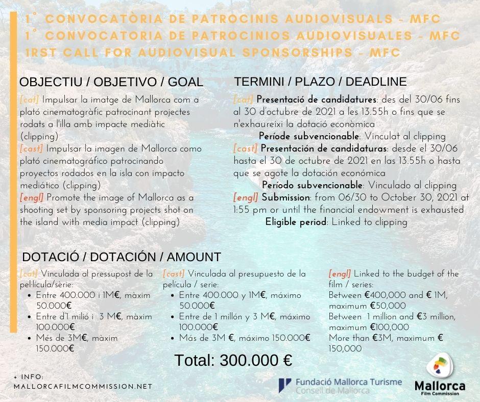 La Mallorca Film Commission publica su primera convocatoria de patrocinios específicamente audiovisuales
