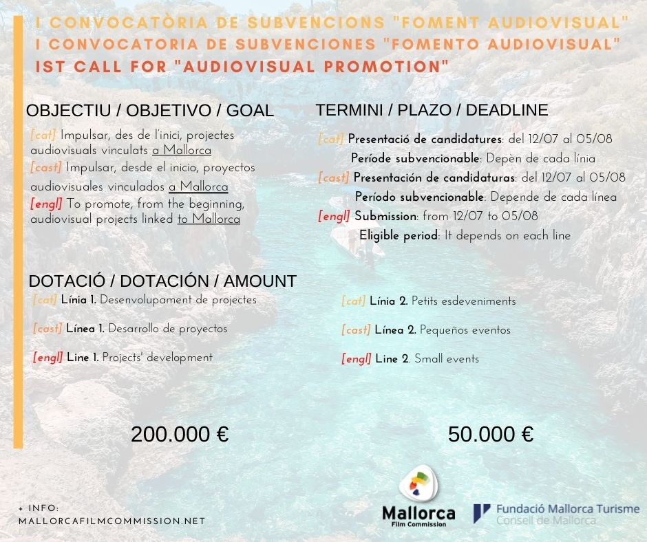 Publicada la primera convocatoria de Fomento Audiovisual de la Mallorca Film Commission